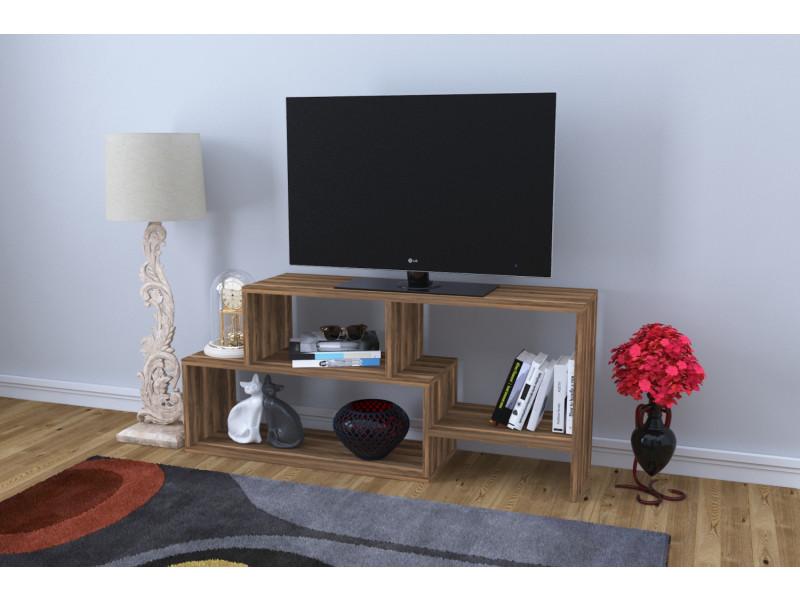 Meuble Tv Design Clover Motif Bois Noyer Marron Fonce Conforama