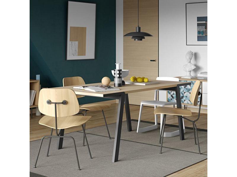Table à manger drift - chêne et noir 9500.614088
