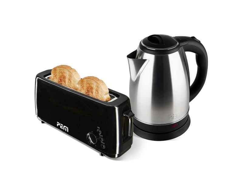 Bouilloire en inox 1500w 1.8l + grille pain 1 fente longue 1000w - fonction décongélation