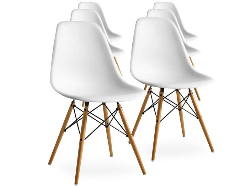 Lot de 6 chaises scandinaves blanches style eiffel Vente