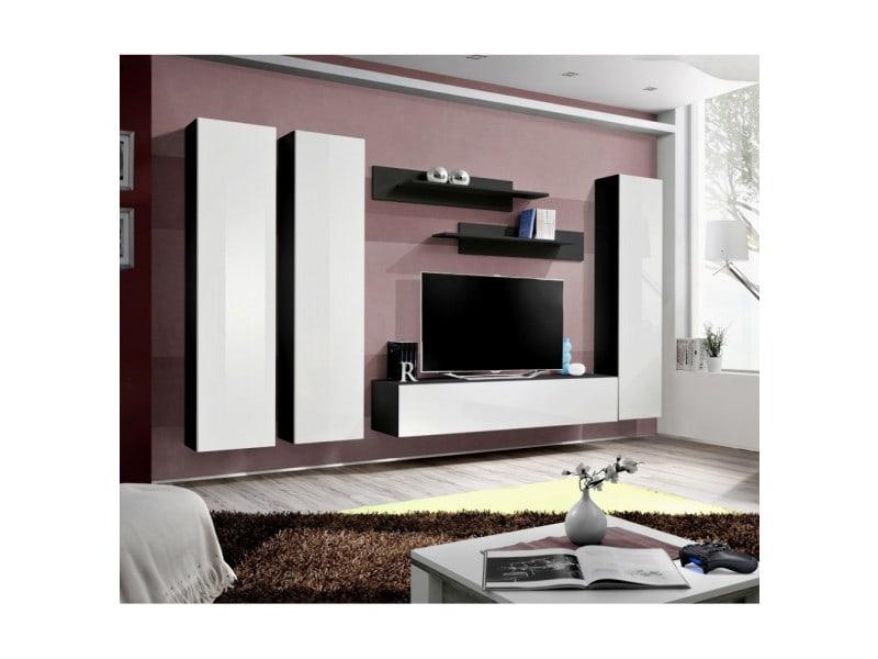 Ensemble meuble tv mural - fly i - 310 cm x 190 cm x 40 cm - noir et blanc