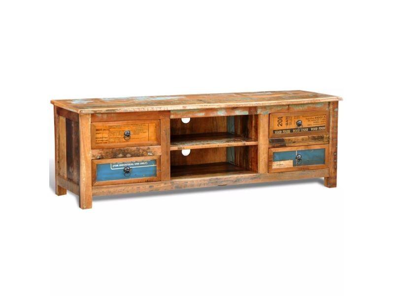 Meuble télé buffet tv télévision design pratique vintage multicolore 4 tiroirs helloshop26 2502301