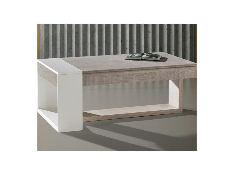 énorme réduction d67d2 dd23c Table basse relevable chêne clair/blanc - esteban - l 110 ...