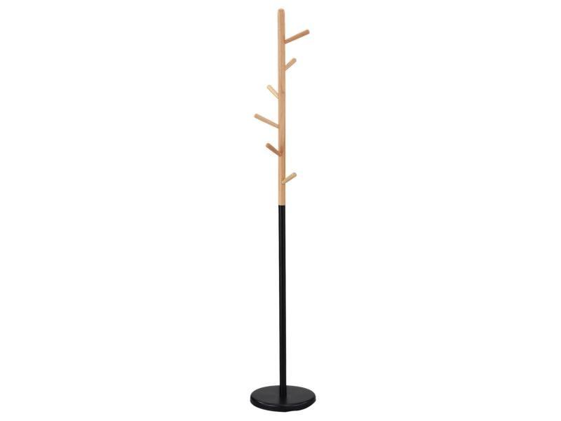 Porte-manteaux enrico portant à vêtements sur pied en forme d'arbre avec 6 crochets, en métal laqué noir et bois
