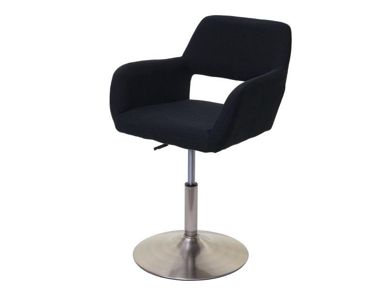 Chaise de salle à manger hwc-a50 iii, style rétro années 50, tissu ~ noir, pied en métal brossé