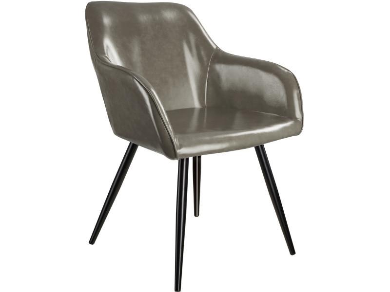 Tectake chaise marilyn en cuir synthétique - gris foncé-noir 403679