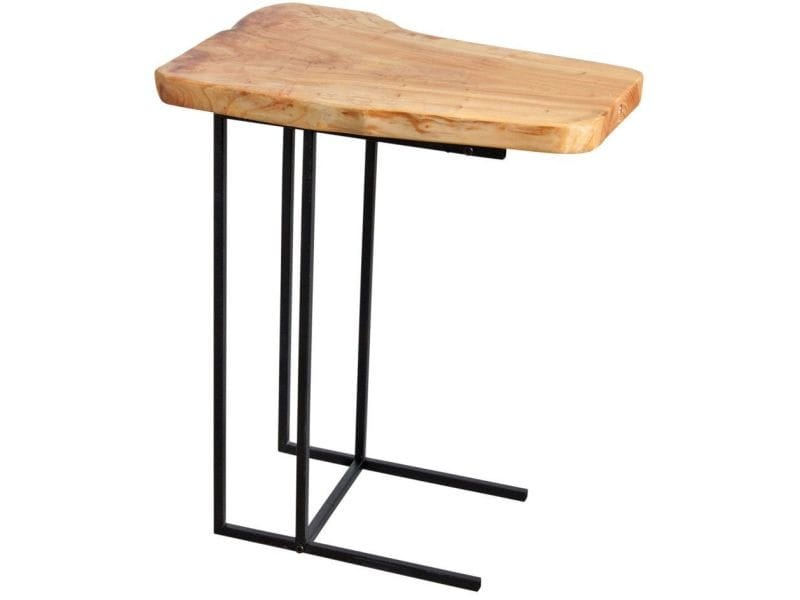 Table d'appoint en bois brut et métal noir
