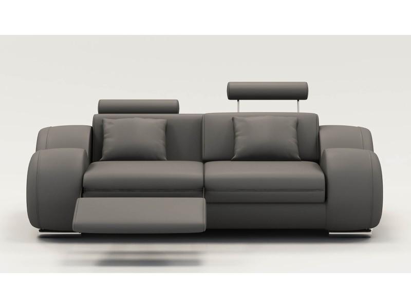 Canapé 2 places design relax oslo en cuir gris-