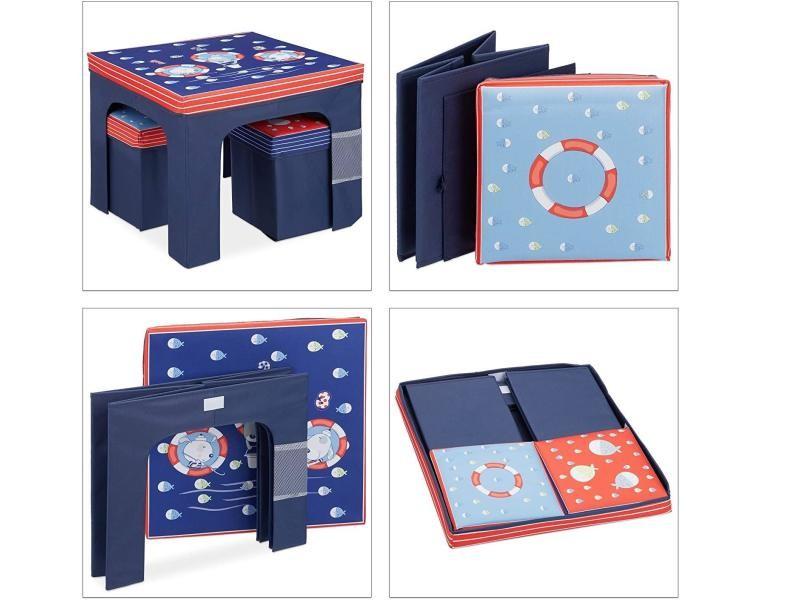 Ensemble table tabouret chaise enfants bleu helloshop26 13_0000993
