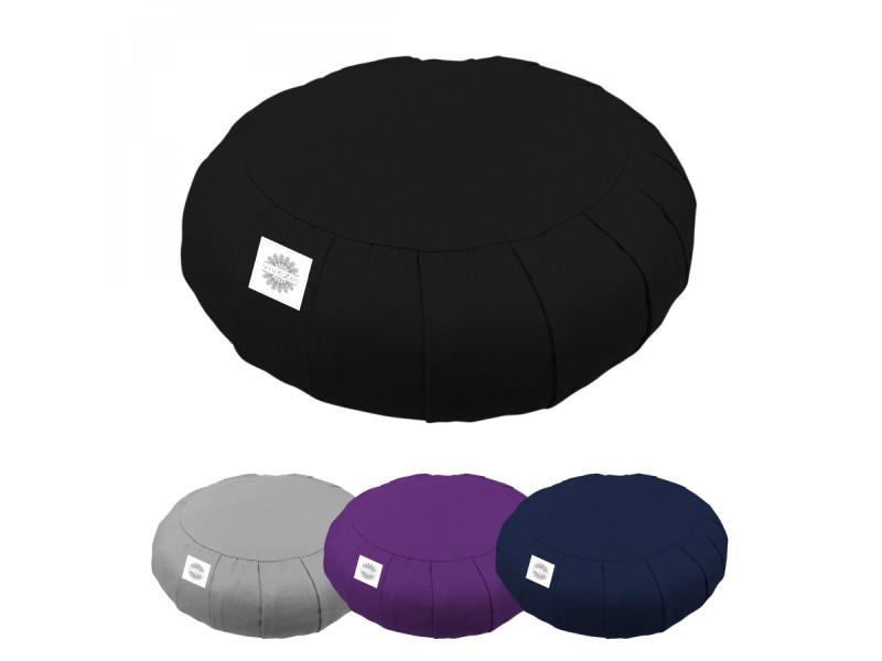 Pouf, zafu, coussin de méditation, yoga - rond - 38 x 38 x 13 cm - noir