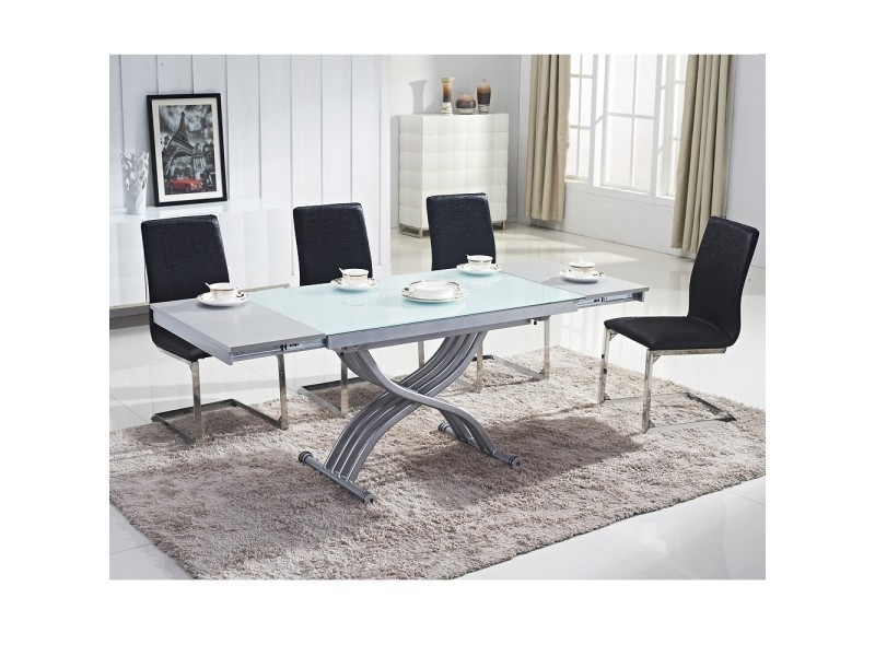Table basse relevable reality verre blanc vente de ego for Ventouse pour table basse en verre
