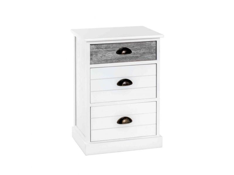 Commode 3 tiroirs en bois massif blanc laqué et gris - co15015