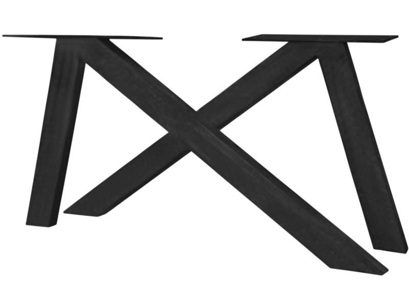 Pied De Table Fer.Pied De Table Moderne En Fer 136x72 Cm Coloris Noir Antique