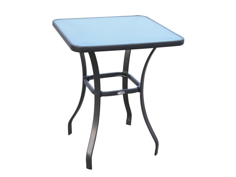 Table carrée bistro de jardin dim. 68l x 68l x 84h cm métal époxy gris plateau verre trempé granité