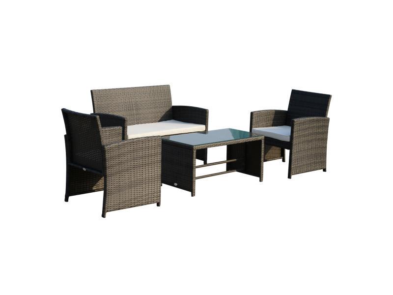 Ensemble salon de jardin 4 places : canapé, 2 fauteuils et table basse plateau verre trempé résine tressée imitation rotin gris coussins blanc