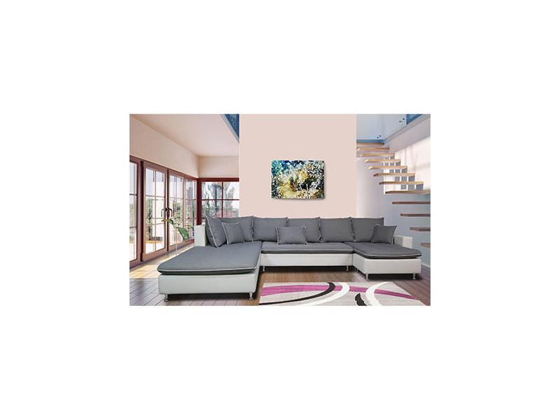 Canapé d'angle fixe à gauche gris et blanc - abby