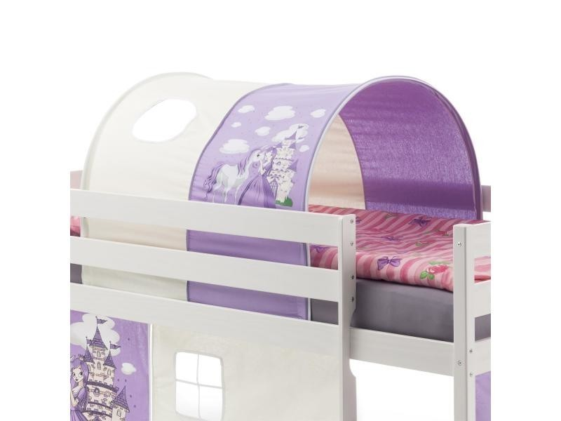 tunnel tente cabane pour lit sur lev coton motif princesse lilas blanc vente de idimex. Black Bedroom Furniture Sets. Home Design Ideas