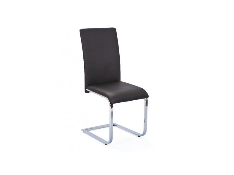 Chaise moderne design cuisine séjour salle à manger chrom simili cuir noir
