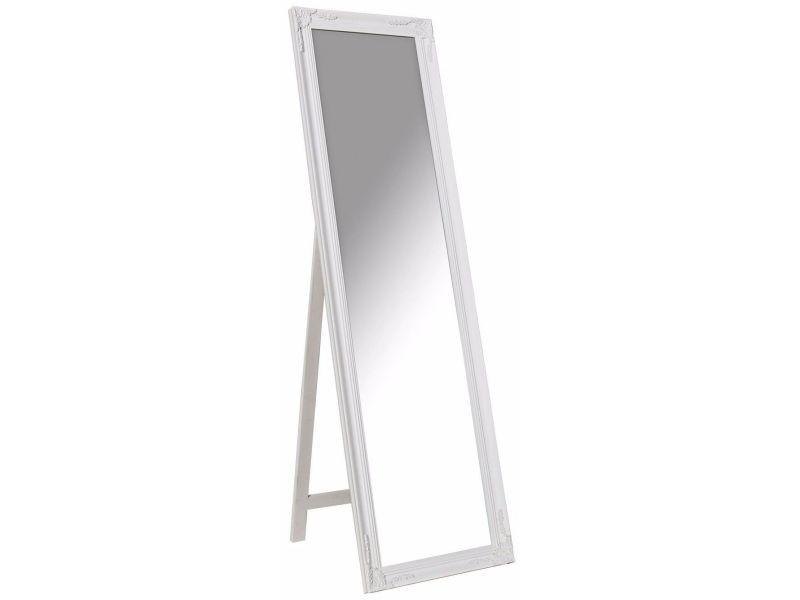 grand miroir psych en bois style classique 160 cm coloris blanc vente de comforium conforama. Black Bedroom Furniture Sets. Home Design Ideas