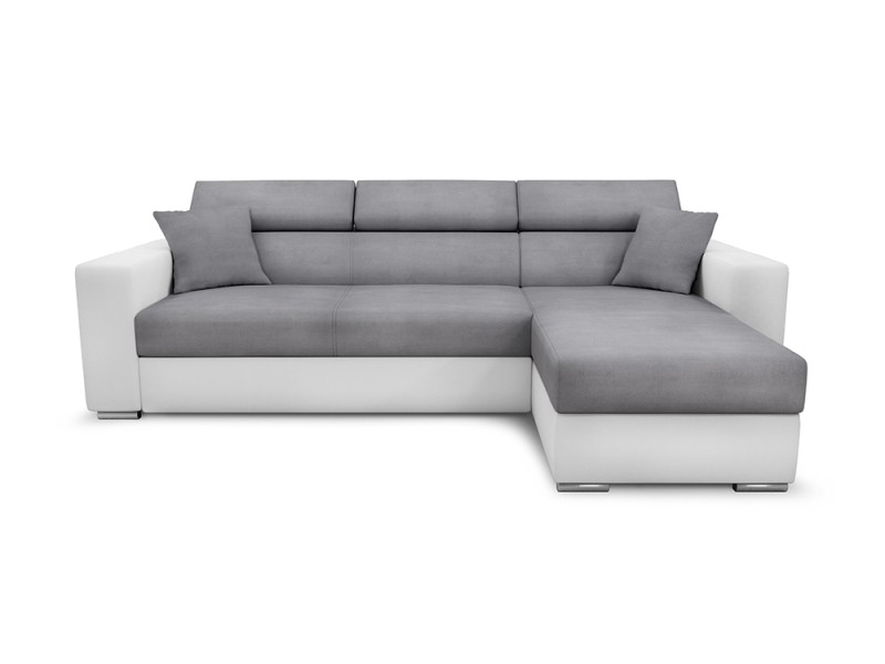 Canapé d'angle leslie convertible et réversible en simili et microfibre - couleur - blanc / gris