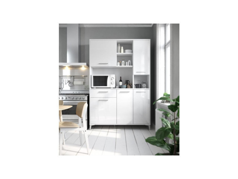 Eco buffet de cuisine l 120 cm - blanc brillant T75311MB01LVO