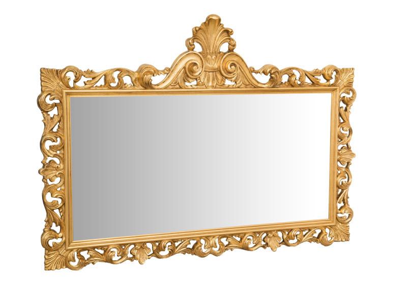 Miroir, long miroir mural rectangulaire, à accrocher au mur, horizontal et vertical, shabby chic, salle de bain, chambre, cadre finition or antique, grand, long, l150xp8xh110 cm. Style shabby chic.