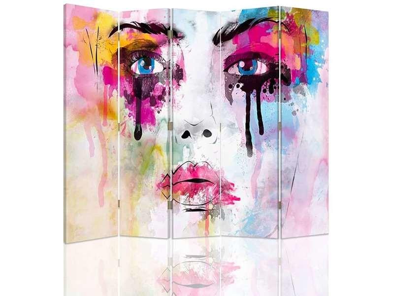 Paravent 5 volets avec des taches de peinture de visage r° v° PAR/5CZ-2S/M_31076/180x180