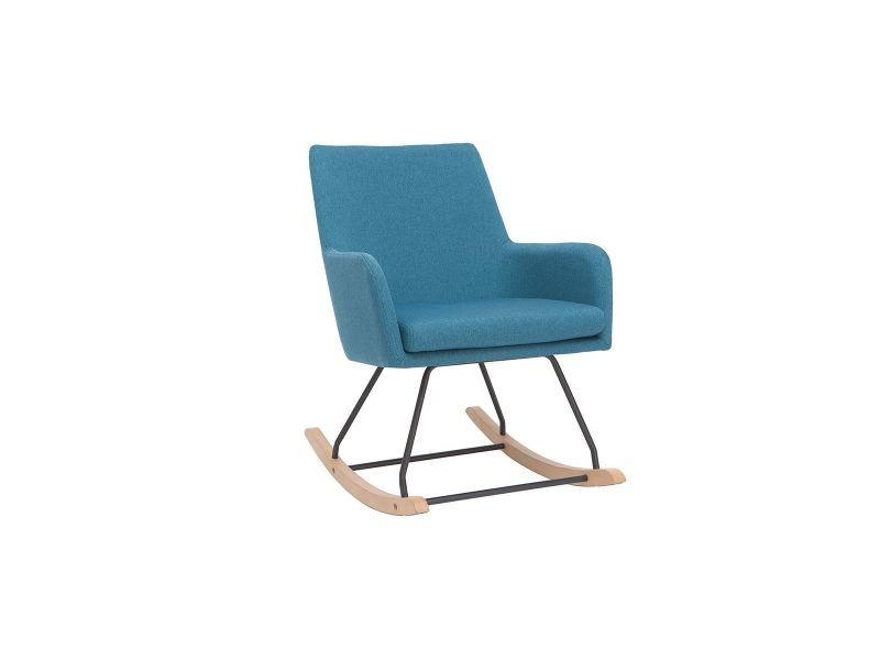 Rocking chair design en tissu bleu canard shana