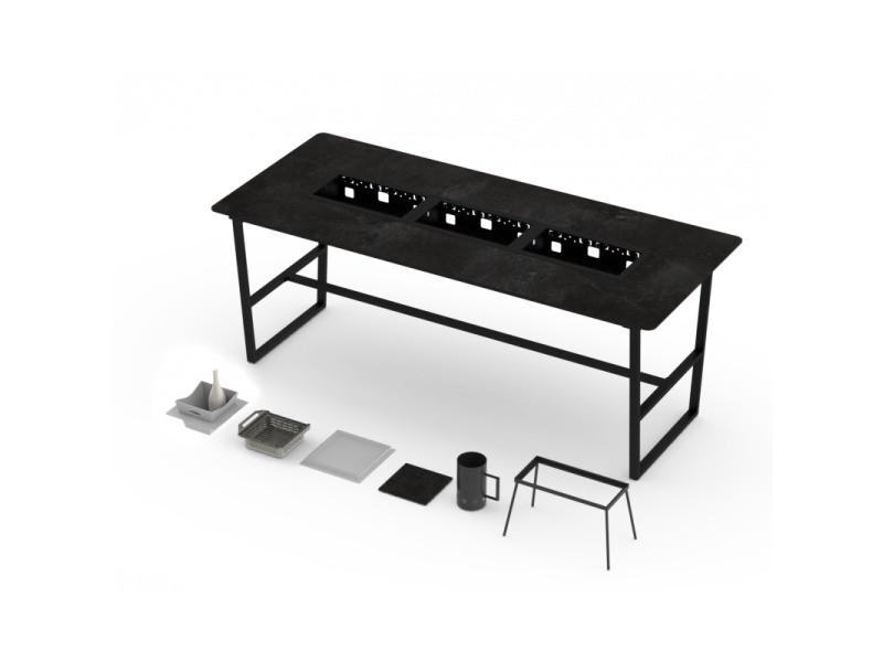 Table haute barbecue intégré cévenne 10-12 personnes - h 1060 mm - grill'chic - noir