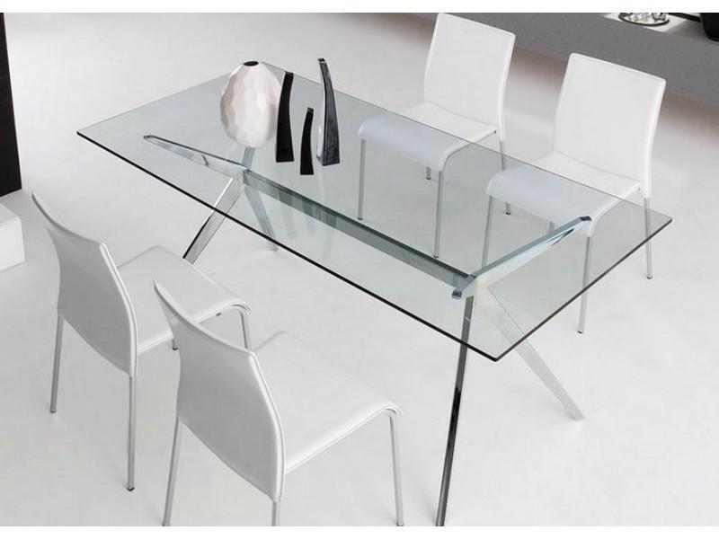 Table repas seven 160x90 en verre piétement acier chromé 20100838652