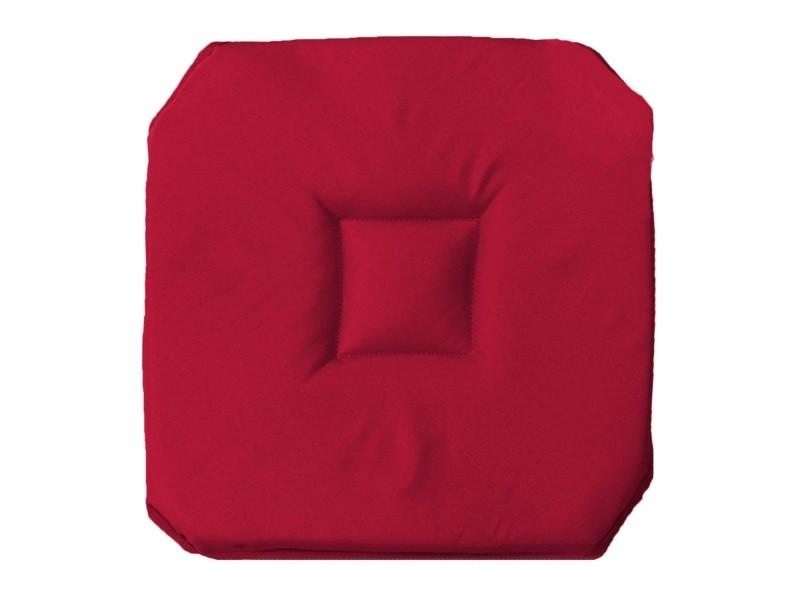 Coussin galette de chaise 4 rabats 36 x 36 cm rouge for Housse de coussin de chaise