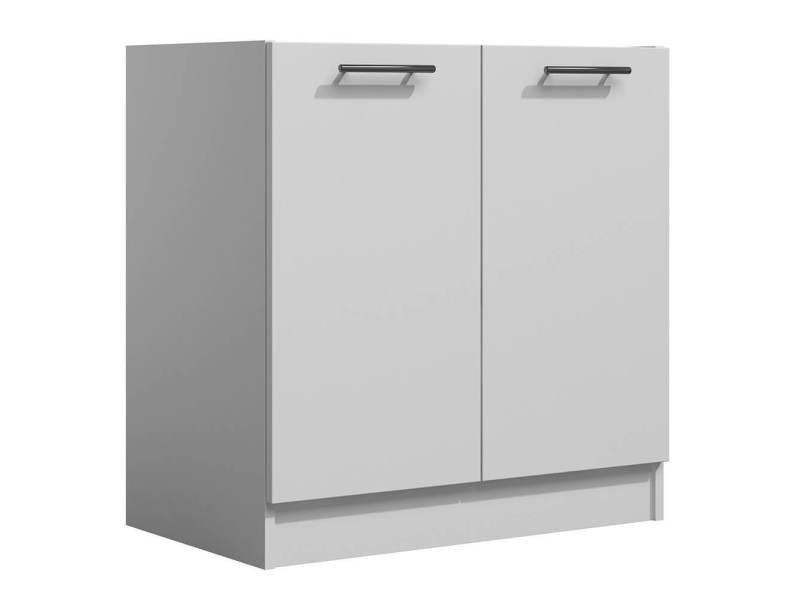 Lila - meuble de cuisine bas 80 cm 2 portes blanc mate
