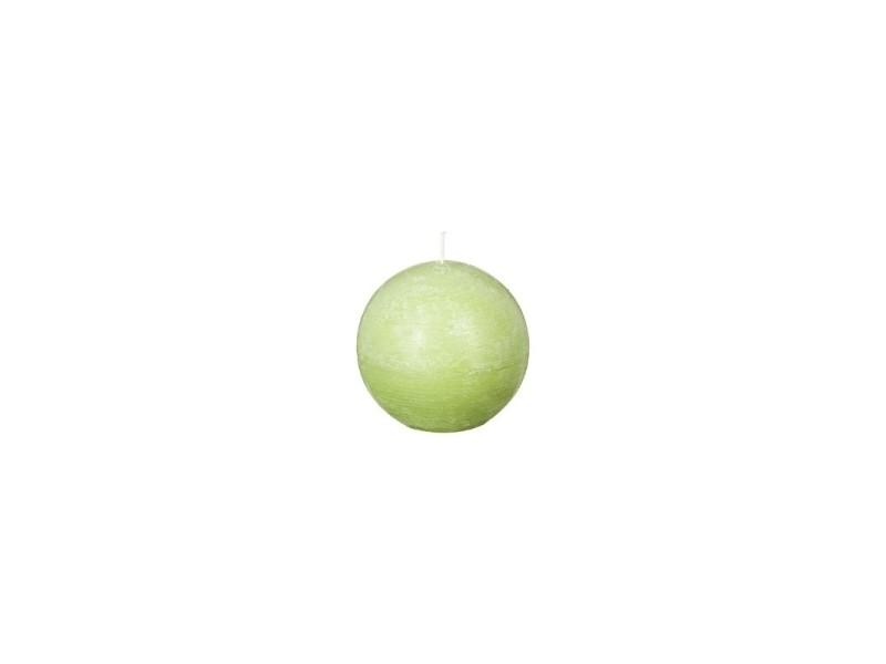 Bougie sphérique style rustique - d 10 cm - vert