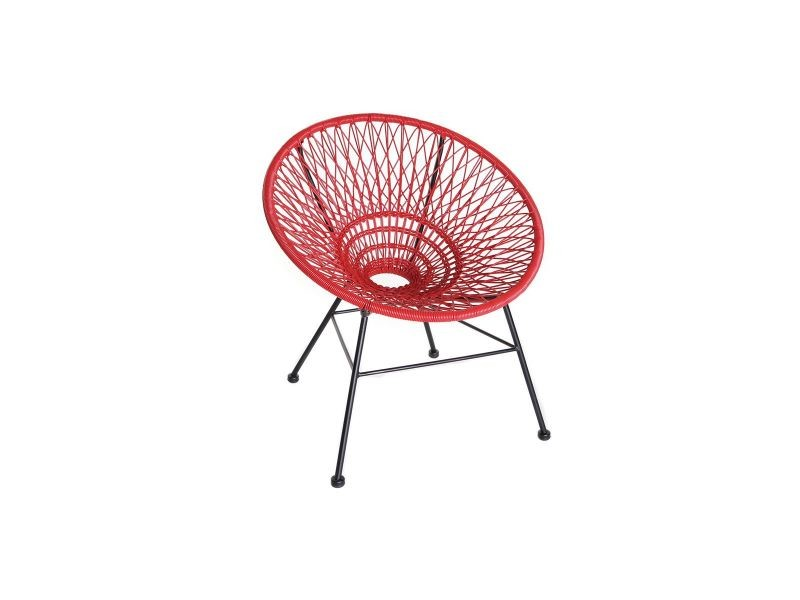 Fauteuil de jardin design en fils de résine rouge arango - Vente de ...