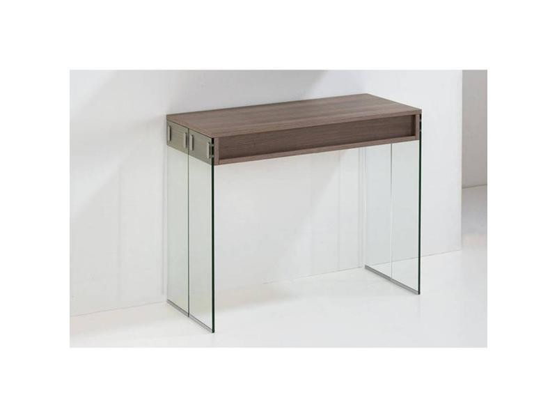Console extensible stef coloris noyer pi tement en verre for Table extensible 3 suisses