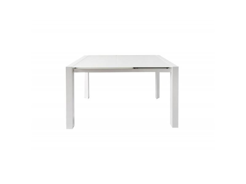 Table extensible 120/180 cm plateau verre blanc - luciole