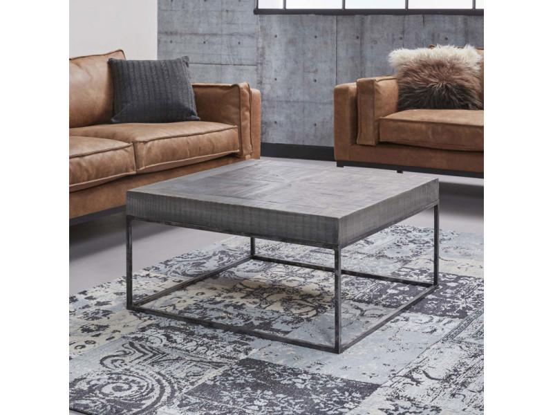 Table basse carrée design en bois massif coloris gris antique florent