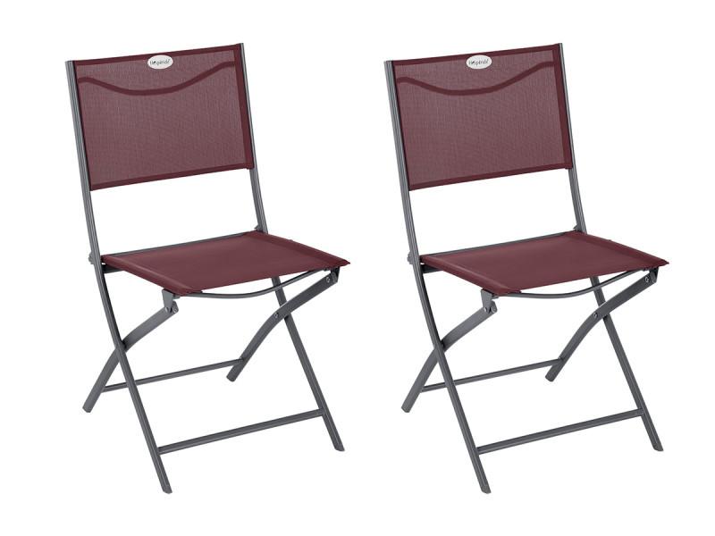 Lot de 2 chaises de jardin pliante métal modula bordeaux/graphite - hespéride