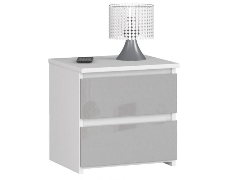 Shala - table de chevet contemporaine chambre 40x40x35 cm - 2 tiroirs - chevet chiffonier - design moderne - gris