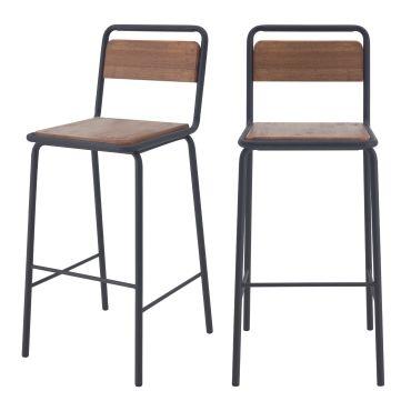 Chaises de bar charlemagne en bois vieilli 72 cm (lot de 2