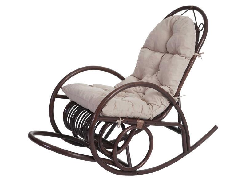 Rocking-chair en rotin coloris crème, h 110 x l 58 x p 139 cm -pegane-