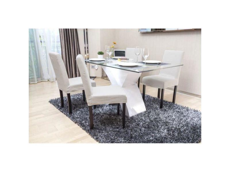 Chaise strip lot de 2 chaises de salle a manger déhoussables - tissu ivoire - contemporain - l 44 x p 53 cm