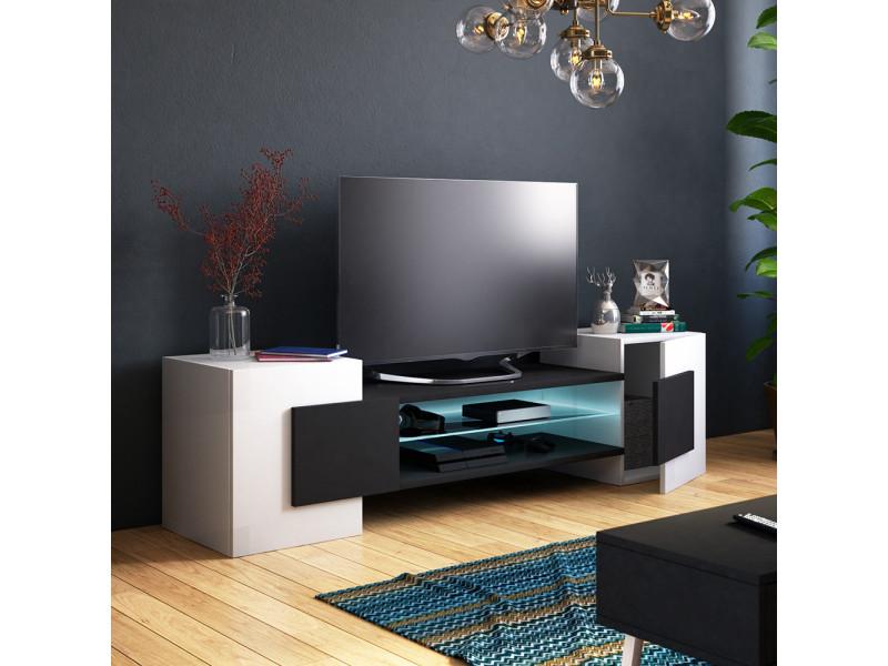 Meuble tv / meuble de salon - charles - 160 cm - blanc mat / noir mat - avec led - style contemporain