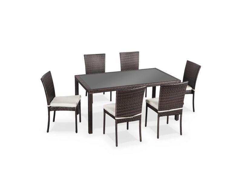salon de jardin en r sine tress e 6 chaises chocolat. Black Bedroom Furniture Sets. Home Design Ideas