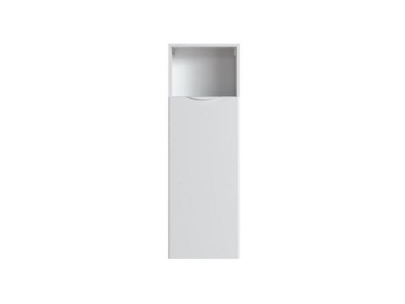 Meuble haut de salle de bain - element mural de salle de bain - armoire de toilette solna colonne salle de bain - l 40 cm blanc laqué et mat