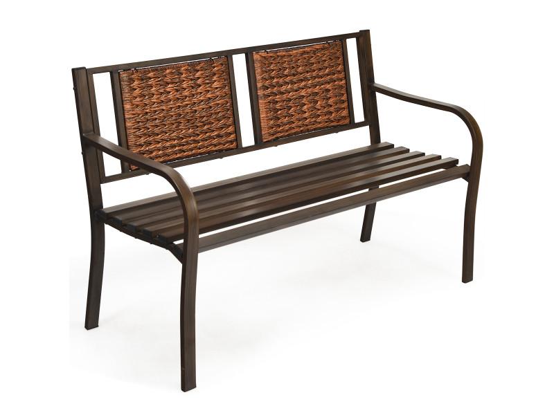 Banc de jardin avec dossier en rotin et accoudoirs, cadre en fer, 2-3 places pour intérieur et extérieur, bronze + brun