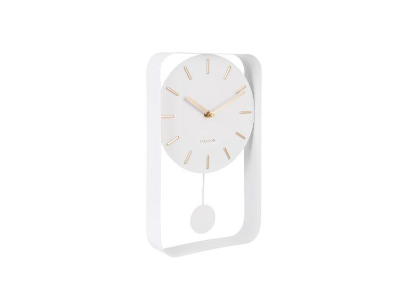 Horloge design pendulum charm - l. 20 x h. 32 cm - blanc