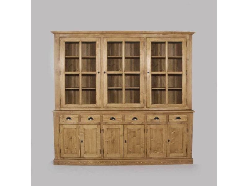 buffet vaisselier bois 9 portes 6 tiroirs n179 bois. Black Bedroom Furniture Sets. Home Design Ideas