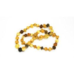 Collier d'ambre bébé multicolore avec fermoir sécurité
