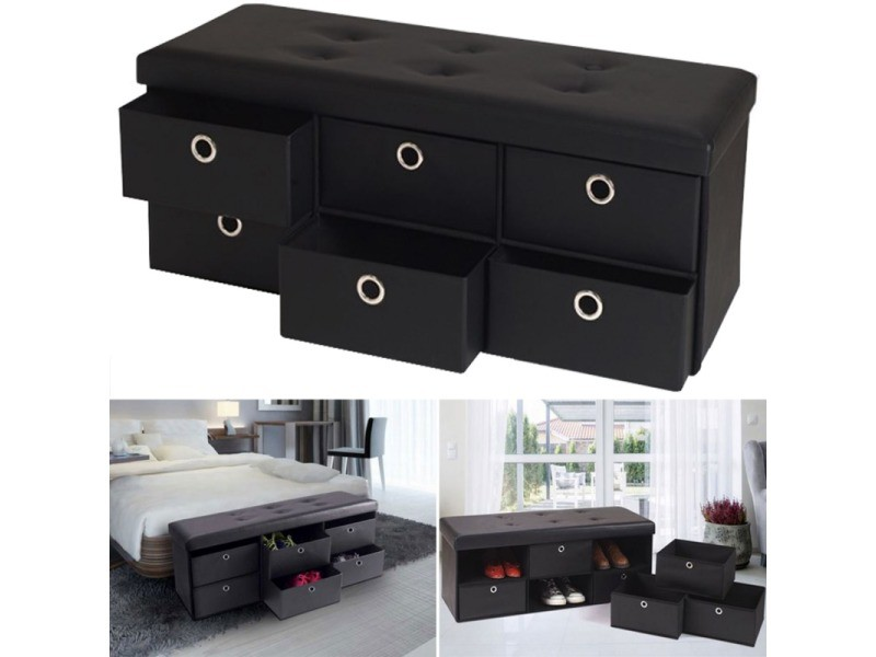 banc coffre rangement noir 6 tiroirs 100x38x38 cm pvc. Black Bedroom Furniture Sets. Home Design Ideas